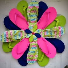 Flip flop wreath spring April May summer wreath. https://www.etsy.com/shop/365holidays