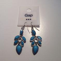 Gap Blue Gem Detail Earrings Gap earrings with blue detail. Silver accents. Never worn. GAP Jewelry Earrings