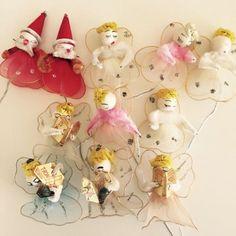 11 VINTAGE CHRISTMAS  CHENILLE  NET COTTON SPUN TIE ONS ANGEL FAIRY SANTA LOT