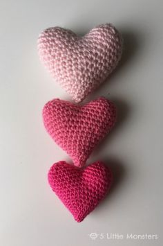 5 Little Monsters: Crocheted Puffy Hearts