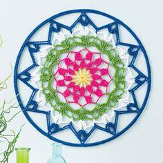 Mandala Wall Art by Jennifer E Ryan - Winner's Circle Design in June 2015 issue of Crochet World Crochet Mandala Pattern, Crochet Doilies, Crochet Patterns, Crochet Wall Art, Crochet Home Decor, Crochet World, Crochet Dreamcatcher, Circle Design, Yarn Crafts