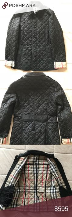 Burberry Quilted Jacket Black XS Worn Once. Brand new condition. Comes with Bloomingdale's garment bag. If you buy from Burberry you dont get this. Black buttons. Comes in at the waist so it's a flattering fit. For reference, I'm 5'2, 107 lbs and it fit perfectly, a little loose but has shape. You can wear a sweater underneath and still move your arms. This is brand new as I wore it once. I have the original tag. Bought from Bloomingdales NYC. Just wasn't my style after all. Offers welcome…
