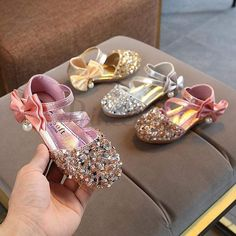 Silver / Gold / Pink Bow Leather Sequin Sandals Baby Dancing Shoes Flower Girl Shoes #Gold #Pink #Sequin