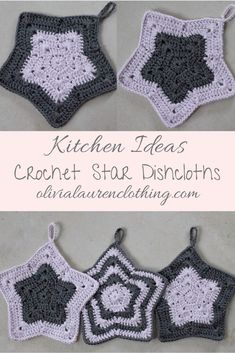 Crochet Star Dishcloths! #crochet #kitchen #homedecor #kitchengoals #crochetwashcloth Granny Square Crochet Pattern, Crochet Motif, Free Crochet, Kids Knitting Patterns, Crochet Patterns, Crochet Hot Pads, Crochet Christmas Gifts, Tsumtsum, Crochet Dragon