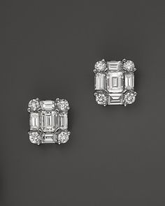 Diamond Emerald-Cut Earrings in 14K White Gold, .85 ct.tw. | Bloomingdale's