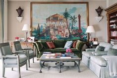 Michael Smith: Antique faux-porphyry urns are mounted on either side of the family room's framed scenic wallpaper. Scenic Wallpaper, Of Wallpaper, Wallpaper Ideas, Interior Decorating, Interior Design, Interior Ideas, Elegant Homes, Cool Rooms, Living Room Inspiration