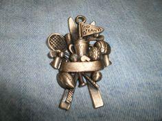 RETIRED SPORTS Ornament Goldtone Brass Look USA Gloria Duchin