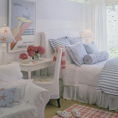 Bedroom, beach, nautical, blue, bed, cushions, flowers