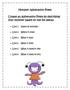 70 Best Of Alliteration Poems for Kids Kindergarten Language Arts, Kindergarten Writing, Literacy, Free Math Practice, Geography Worksheets, Preschool Worksheets, Poems About School, Fraction Word Problems, Halloween Poems