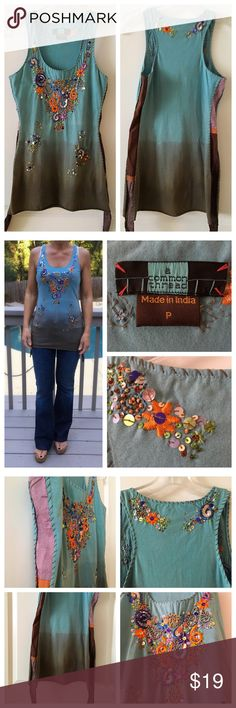 Embroidered Tank Top - Anthropology Gorgeous tank by A Common Thread with intricate embroidered flowers! Gradient blues, greens and browns - stunning! Anthropologie Tops Tank Tops
