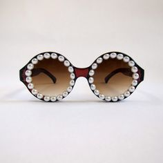 Circle Round Retro Sunglasses // Brown Crystal by jfaye on Etsy, $40.00