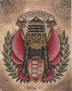 Exterminate Dalek Print 11x14 by PeppermintTattyArt on Etsy, $20.00