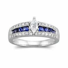 Details about Sapphire and Diamond Engagement Ring