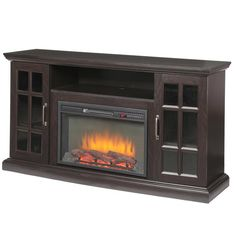 Home Decorators Collection Edenfield 59 in. Freestanding Infrared Electric Fireplace TV Stand in Espresso