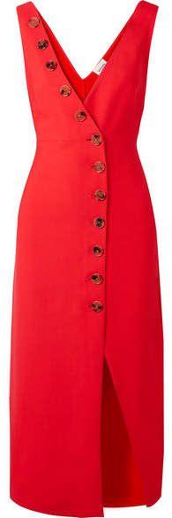 Khaite - Christy Button-detailed Piqué Midi Dress - Red