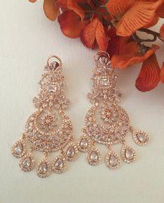 Diamond Earrings Indian, Rose Gold Earrings, Bridal Earrings, Diamond Jewellery, Pakistani Jewelry, Indian Wedding Jewelry, Indian Jewelry, Fashion Jewelry, Jewelry Design