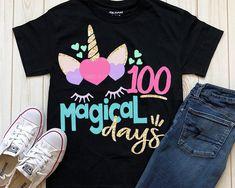 unicorn svg, 100 magical days svg, school, 100 days, SVG, DXF, EPS, 100 days svg, 100th day of school svg, 100 days shirt, girls svg, shirt by ShortsandLemons on Etsy
