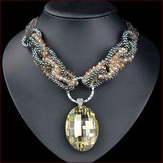 Free Shipping New 2014 High Quality Jewel Big Gems Pendant Chunky Necklaces Statement Jewelery Women Beads Chain Jewlery N4604