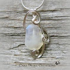 Iridescent Moonstone Wire Wrapped Pendant Necklace in Silver by CareMoreCreations.com, $29.00