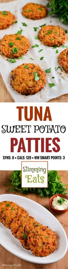 Slimming Eats Tuna and Sweet Potato Patties - gluten free, dairy free, whole30, paleo, Slimming World and Weight Watchers friendly