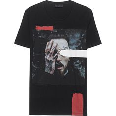 RH45 Face Black // Cotton T-shirt with print (1.783.255 IDR) ❤ liked on Polyvore featuring men's fashion, men's clothing, men's shirts, men's t-shirts, shirts, mens straight hem shirts, mens print shirts, mens crew neck t shirts, mens patterned t shirts and mens cotton t shirts