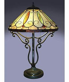 Great Add Soft, Warm Light To Your Room With This Arroyo Tiffany Style Table Lamp.  With A Bronze Finished Metal Base Of Elegant Scrollwork, This Lamp Features  A ...