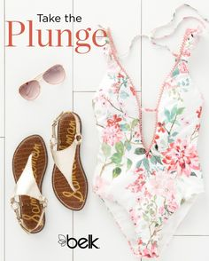 Take the plunge (with a plunging neckline) and feminine ruffles with a new one-piece swimsuit. Complete your beach-ready look with matching sandals and rose-tinted sunglasses. Shop the latest women's swimwear trends in stores or at belk.com.