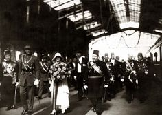 KING FOUAD of Egypt with King Albert I and Queen Elisabeth of Belgium