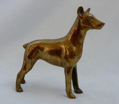 Vintage Brass Dog Figurine Doberman Miniture Pinscher by chriscre
