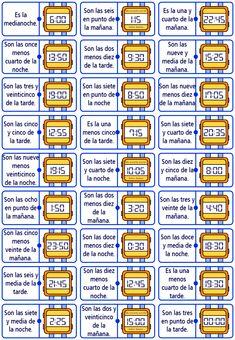 Me encanta escribir en español: El dominó de la hora. Time In Spanish, Middle School Spanish, Spanish Songs, Spanish Class, Spanish Lessons, Teaching Spanish, Learn Spanish, Telling Time, Play Therapy