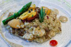 Un delicioso arroz meloso con hongos en el restaurante Portuondo de Mundaka