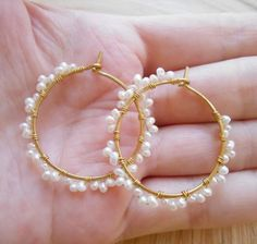 Olivia white freshwater pearl scalloped beaded hoop earrings wire wrapped lace hoops gold fill Christmas Xmas holiday gift for her under 50 Diy Jewelry Necklace, Jewelry Design Earrings, Beaded Earrings, Diy Earrings Pearl, Hoop Earrings, Simple Jewelry, Cute Jewelry, Bridal Jewelry, Handmade Wire Jewelry