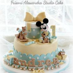 Amazing Birthday Cake-Baby Mickey Mouse Theme by Frisoni Alessandra Studio Cake Mickey Mouse Torte, Mickey And Minnie Cake, Bolo Mickey, Mickey Cakes, Baby Birthday Cakes, Baby Boy Cakes, Baby Shower Cakes, Cute Cakes, Pretty Cakes