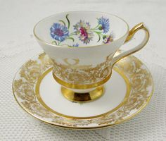 Vintage Tea Cup and Saucer, White and Gold with Flowers, Made by Windsor, English Bone China