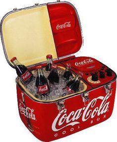 Coca Cola ice chest with radio