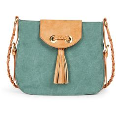 Sole Society Toby Tassel Canvas Crossbody ($25) ❤ liked on Polyvore featuring bags, handbags, shoulder bags, purses, bolsas, emerald, crossbody shoulder bags, canvas handbags, man bag and canvas purse