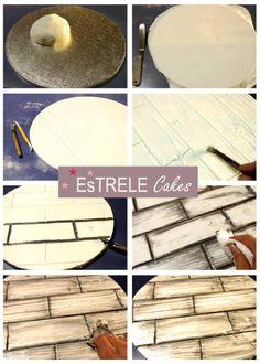 Wood effect on cake board tutorial