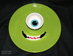 """Mike"" Snack Plate with Sauce Cup made at Paint Your Own Pottery Studio facebook.com/yourefiredoxford pinterest.com/yourefiredox"