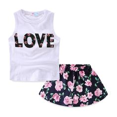 "Mud Kingdom Girls Floral LOVE Tank Tops and Chiffon Skirts Clothes Sets 6-7T. Vest With Love letters. Skirt is Made of Chiffon. For Summer. Please Read ""Size Specification"" In ""Product Description"" To Make Sure The Size You Choose Fits As Expected. Adorable Design, Comfortable Fabric and Much More Beautiful Than Pictures, Kids Will Like It As Gift."