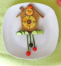 50+ Kids Food Art Lunches - Cuckoo Clock Lunch