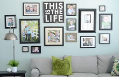 Sherwin-Williams blue paint color Rainwashed (SW 6211) creates the perfect backdrop for these family photos.