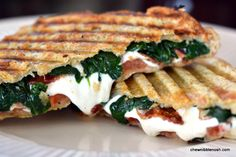 Grilled Mozzarella and Spinach BLTs - These were crazy good!!!  #recipe from Chew Nibble Nosh