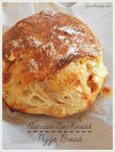 Artisan No-Knead Pizza Bread - Recipes ~ Pizza & Snacks - Bread Recipes Artisan Bread Recipes, Dutch Oven Recipes, Baking Recipes, Artisan Pizza Dough Recipe, Knead Pizza, No Knead Bread, Pizza Snacks, Pizza Recipes, Cooking Bread