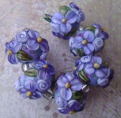 Monet Inspired Lavender Wild Blossom and Rosebuds Lampwork Set