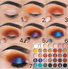 Jaclyn Hill x Morphe Eyeshadow Palette Tutorial Step by Step; Orange and Teal Spotlight Eye Halo Eyeshadow Look Pictoria. - Jaclyn Hill x Morphe Eyeshadow Palette Tutorial Step by Step; Orange and Teal Spotlight Eye Halo Eyeshadow Look Pictorial - Makeup Geek, Makeup Tools, Makeup Inspo, Makeup Ideas, Makeup Tutorials, Eyebrow Makeup, Makeup Brushes, Makeup Morphe, Makeup Kit