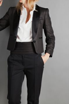 EF Black Oil Linen Silk Tux Jacket
