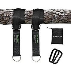 Canway Tree Swing Straps Hanging Kit for Swings and Hammocks Holds Max 2200 LB – Two Heavy Duty Carabiners (Stainless Steel) – Camping Hammock Accessories (5ft)