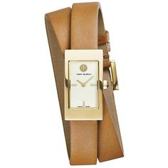 Tory Burch Buddy Signature Double-Wrap Watch, Luggage Leather/Gold-Tone, 31 X 17 Mm