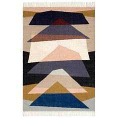 Colourful graphic motifs.Fabric content:80% wool, 20% cotton.Type of production: hand-wovenWeight: 1200g/m²Care adviceVacuum regularly. Remove stains immediately with a clean, damp cloth. Dry clean recommended.Size of rug:Size 1:Width: 120cmLength: 180cmSize 2:Width: 160cmLength: 230cmSize 3:Width: 200cmLength: 290cm.