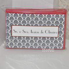 flavoli Papelaria Personalizada: Cartão duplo - Damask com envelope vermelho